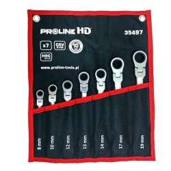 klucze oczkowo-płaskie przegubowe grzechotka 7el.  8-19mm proline 35497