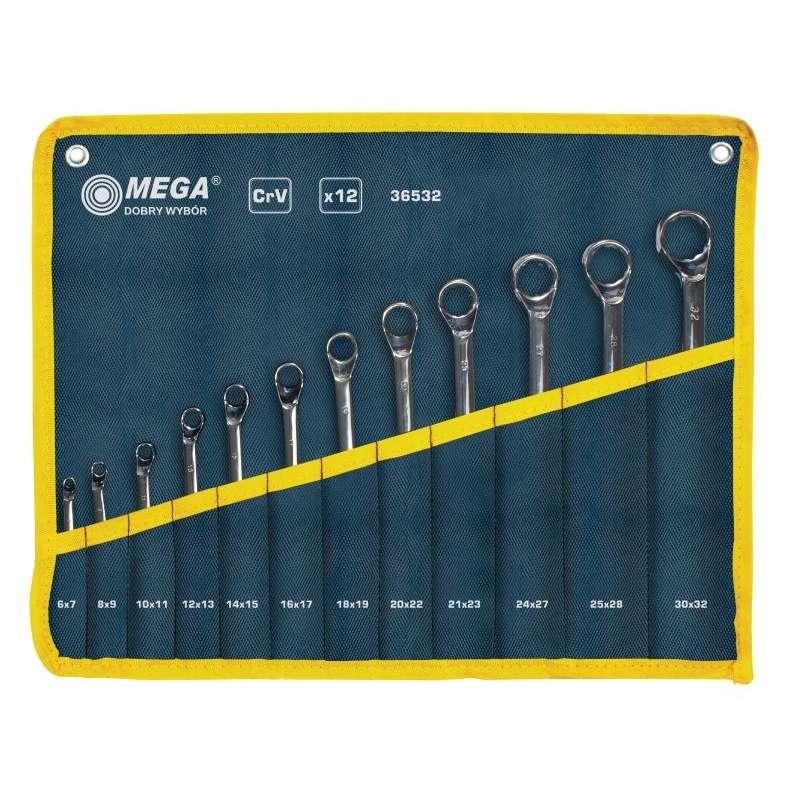 klucze oczkowe odgięte 6-32mm zestaw 12el. mega 36532