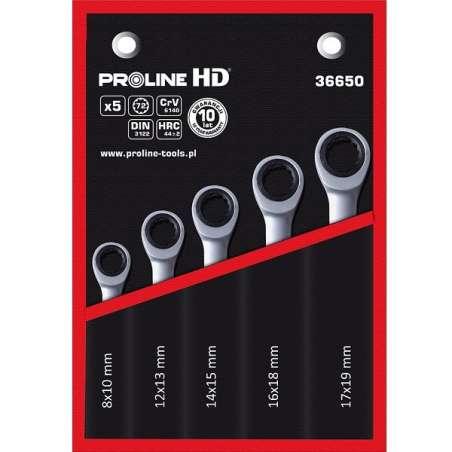 Zestaw kluczy oczkowych z grzechotką 5el. 8-19mm Proline 36650