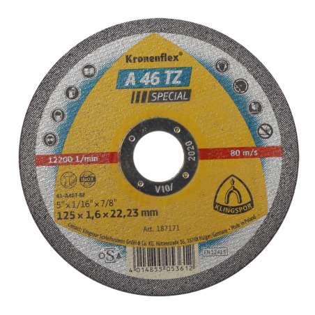 Tarcza do ciecia stali kwaśnej A46TZSPEC 125x16x22 płaska Klingspor KL187171