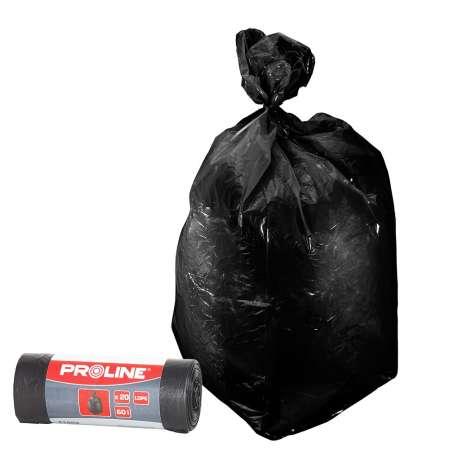 Worki czarne na śmieci Ldpe 60l 20 sztuk Proline 41202