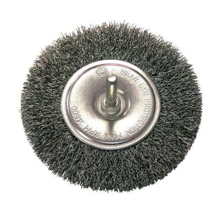 Szczotka tarczowa z drutu falowanego z trzpieniem 80mm Proline