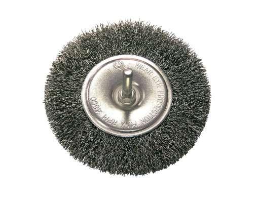Szczotka tarczowa z drutu falowanego z trzpieniem 120mm Proline
