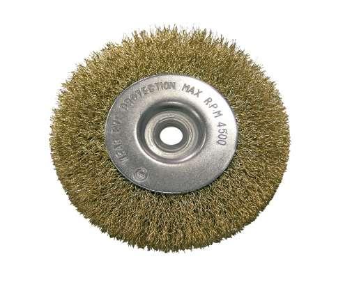 Szczotka tarczowa z drutu falowanego mosiądzowanego z otworem 22mm 100mm Proline