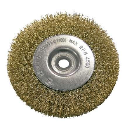 Szczotka tarczowa z drutu falowanego mosiądzowanego z otworem 22mm 150mm Proline 32815
