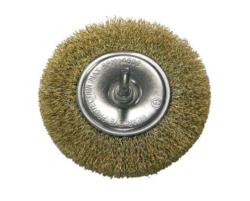 Szczotka tarczowa z drutu falowanego mosiądzowanego z trzpieniem 100mm Proline 32830