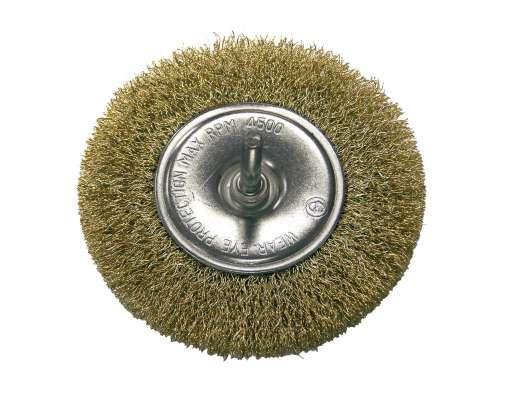 Szczotka tarczowa z drutu falowanego mosiądzowanego z trzpieniem 100mm Proline