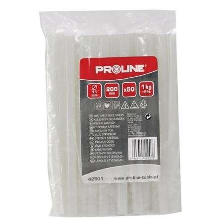 Klej termotopliwy w laskach d:11mm L:200mm 50szt 1kg Proline 42901