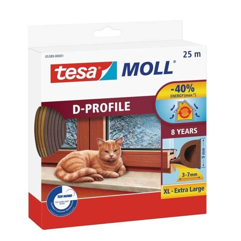 Uszczelka gumowa profil D 25m:9mm brązowa Tesa H0538900