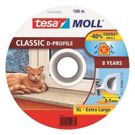 Uszczelka gumowa profil D 100m:9mm biała Tesa H5570600