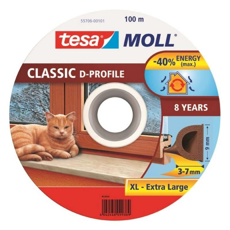 Uszczelka gumowa profil D 100m:9mm brązowa Tesa H5570601