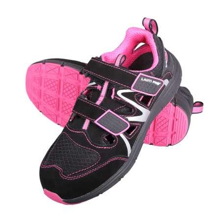 Sandały zamszowe czarne różowe S1 SRA Lahti Pro L30604