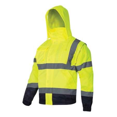 Kurtka ostrzegawcza zimowa krótka ocieplana 2w1 bezrękawnik z kapturem żółta Lahti Pro L40925