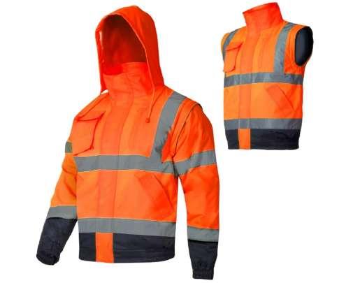 Kurtka ostrzegawcza zimowa krótka ocieplana 2w1 bezrękawnik z kapturem pomarańczowa Lahti Pro L40926