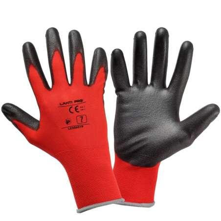 Rękawice robocze powlekane poliuretanem czerwone Lahti Pro L2306