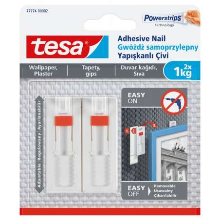 Regulowane gwoździe samoprzylepne do tapet 1kg + 3 plastry Tesa H7777402