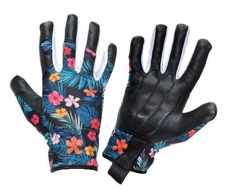 Damskie rękawice ze skóry koziej w kwiatki Lahti Pro L2726