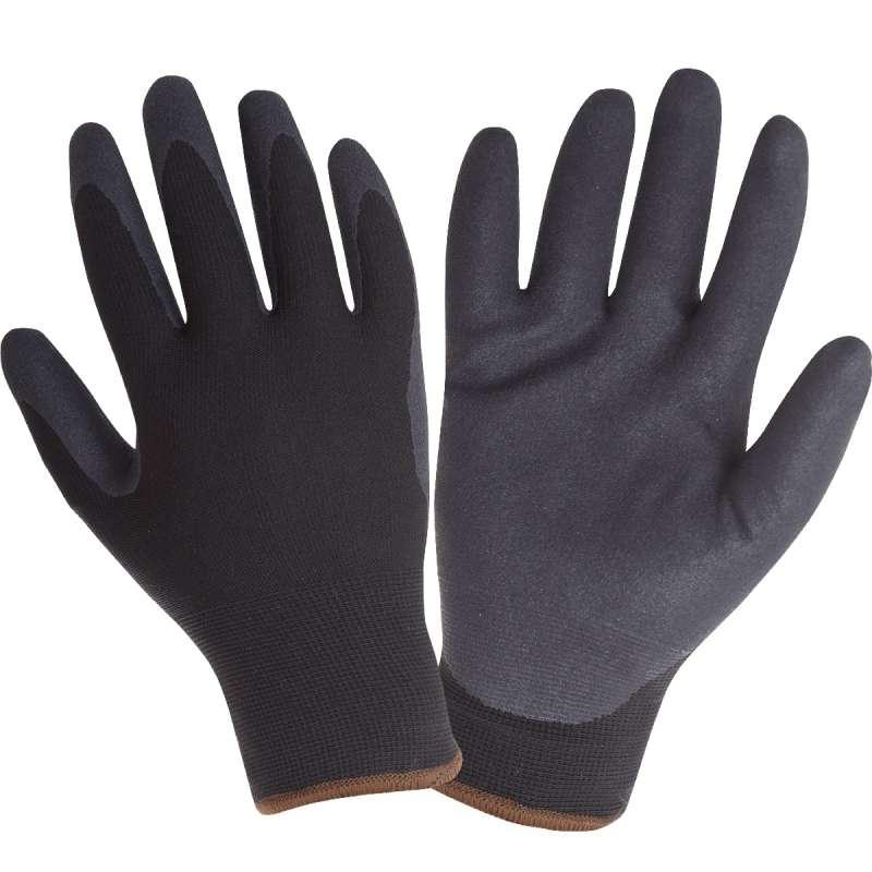 Zimowe rękawice ochronne robocze ocieplane czarne powlekane nitrylem Lahti Pro L251308K