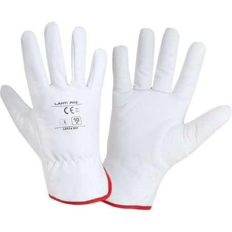 Ocieplane rękawice robocze ze skóry koziej białe Lahti Pro L2514