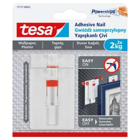 Regulowane gwoździe samoprzylepne do tapet 2kg + 6 plastrów Tesa H7777702