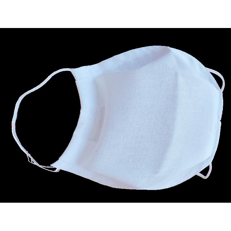 Maseczka jednowarstwowa bawełniana biała z gumkami 46093