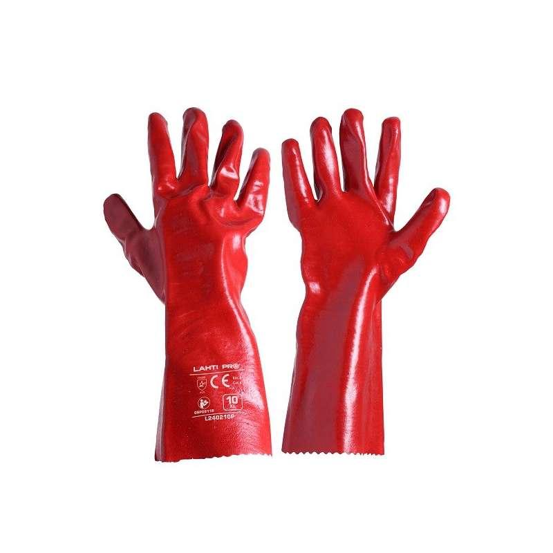 Rękawice PVC długie czerowone 12 par Lahti Pro L240210W