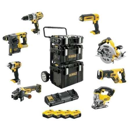 Zestaw 8 narzędzi akumulatorowych 18 V COMBO w 3 kufrach Tough System DeWalt DCK854P4