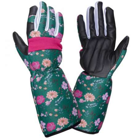 Rękawice robocze długie damskie skóra kozia w kwiatki Lahti Pro L2729