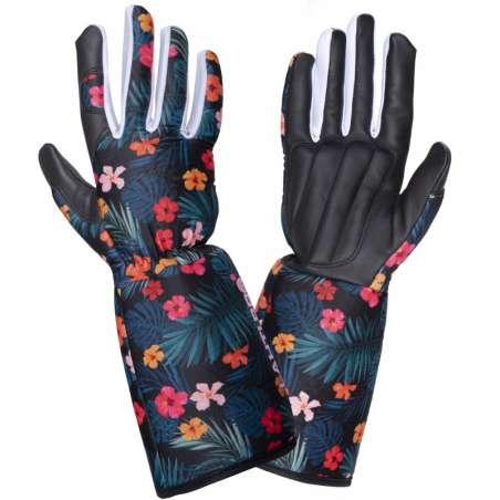 Rękawice robocze długie damskie skóra kozia w kwiatki Lahti Pro L2728