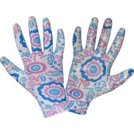 Rękawice ogrodowe damskie niebieskie kwiatki nitryl Lahti Pro L2218