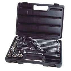 Zestaw kluczy nasadowych 1/2 i płasko-oczkowych 26 elementów Stanley 891051