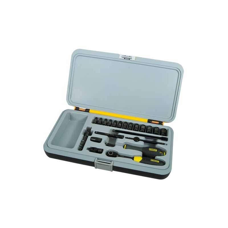 klucze nasadowe 1/4cala black chrome 30el. stanley 94-661
