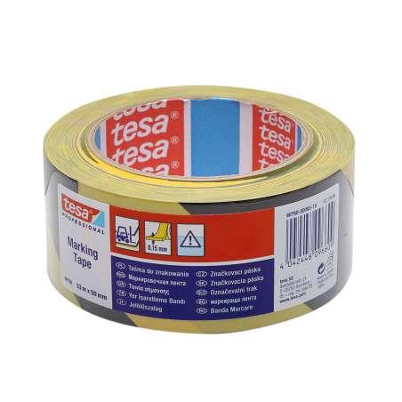 Taśma samoprzylepna ostrzegawcza żółto-czarna 33m:50mm Tesa H6076093