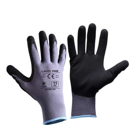 Rękawice nitrylowe szaro czarne Lahti Pro L2206
